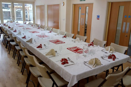 Hall ready for meal for