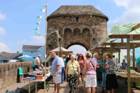 St Thomas summer fete with stalls on Monnow Bridge