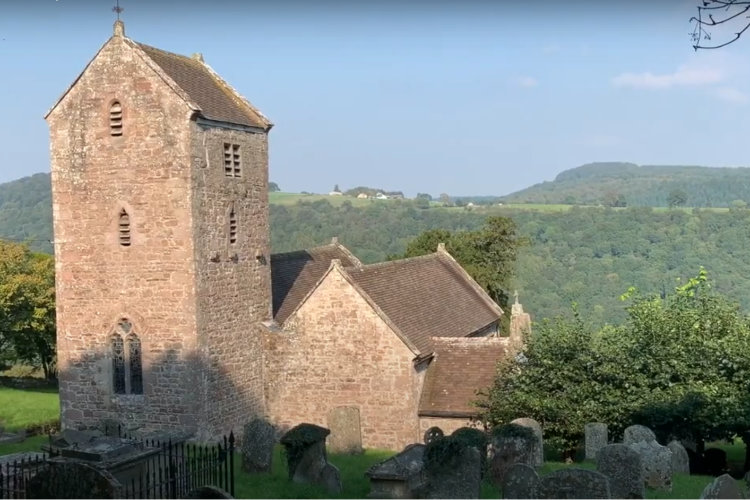 Penallt Old Church with view of Wye Valley